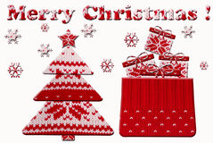 Christmas tree and gift shapes cut from knitted pattern Royalty Free Stock Photography
