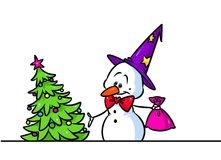 Christmas tree gift snowman cap character cartoon Royalty Free Stock Images
