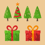 Christmas tree and gift. Christmas trees and gifts in grunge style Royalty Free Stock Photography
