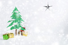 Christmas tree and gift. Used brush tool for white dot Stock Photos