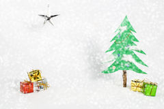 Christmas tree and gift. Used brush tool for white dot Stock Image