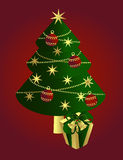 Christmas tree with a gift, vector Royalty Free Stock Image