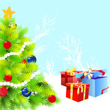 Christmas tree and gift vector Stock Images