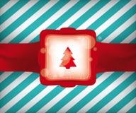 Christmas Tree  Gift Wrap Illustration. Christmas Tree Gift Wrap Vector Illustration with Striped Background Pattern eps10 Royalty Free Stock Photos