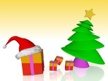 Christmas tree and gifts. A beautiful image of a Christmas tree with gifts Stock Photography