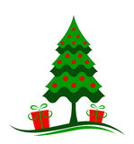 Christmas tree and gifts. Illustrated christmas tree and gifts on white background Stock Images