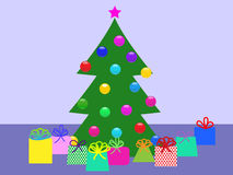 Christmas tree with gifts. Vector  illustration Stock Photography