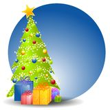 Christmas Tree With Gifts 2. A clip art illustration of a Christmas tree decorated with bulbs and star with a variety of gifts sitting beneath, set against blue Royalty Free Stock Photography