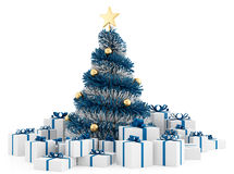 Christmas tree with gifts. White and blue christmas tree with gifts on white background - rendering Stock Photo