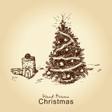 Christmas tree with gifts Royalty Free Stock Image