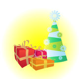 Christmas tree and gifts. Illustration Stock Photo