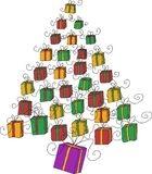Christmas tree gifts Royalty Free Stock Image