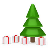 Christmas tree and gifts. Red white gift boxes under christmas tree Stock Photo