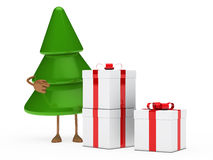 Christmas tree and gifts. Christmas tree green show finger on gifts Royalty Free Stock Photos