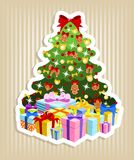 Christmas tree with gifts. Decorated christmas tree with pile of colorful gifts Royalty Free Stock Images
