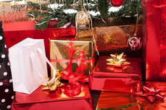 Christmas Tree and Gifts. Over white background Royalty Free Stock Photos