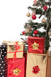 Christmas Tree and Gifts. Over white background Royalty Free Stock Photography