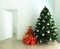 Christmas tree and gifts. In the living room Royalty Free Stock Photos