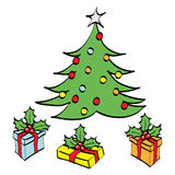 Christmas tree and gifts. Cartoon artwork of a christmas tree and the gifts surrounding it Stock Photos
