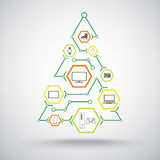 Christmas tree with gifts. Of appliances, phones and jewelry Stock Photography