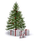 Christmas tree with gifts around it Stock Photo