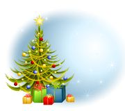 Christmas Tree Gifts Background. A background illustration featuring a decorated Christmas tree with gifts set against blue background Royalty Free Stock Images