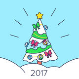 Christmas tree with gifts 2017. On  background Royalty Free Stock Photos