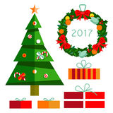 Christmas tree with gifts 2017 Stock Photography