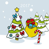 Christmas tree with gifts 2017. On  background Stock Photo