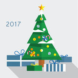 Christmas tree with gifts 2017 Royalty Free Stock Photography