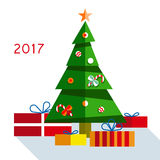 Christmas tree with gifts 2017. On  background Stock Images