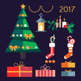 Christmas tree with gifts 2017 Stock Photos