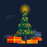 Christmas tree with gifts 2017 Stock Image