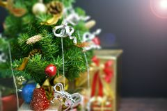 Christmas Tree with Gifts, on black background stock images