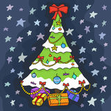 Christmas tree with gifts on blue background with stars. Christmas card. Beautiful vector design Stock Photography