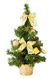 Christmas tree with gifts, bows and balls on white Stock Photography