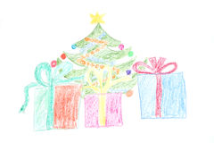 Christmas tree and gifts in boxes. Decorated Christmas tree and three big box gifts. Childs drawing made with wax crayons Royalty Free Stock Image