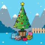 Christmas Tree and Gifts. Cartoon illustration of Christmas tree Royalty Free Stock Photo