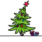 Christmas tree gifts cartoon Royalty Free Stock Photography