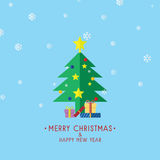 Christmas Tree With Gifts, Christmas Card Vector. Illustration Royalty Free Stock Photo