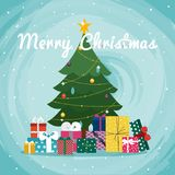 Christmas tree with gifts. Christmas greeting card background po. Ster Stock Image