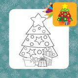 Christmas tree with gifts. Coloring page Royalty Free Stock Photography