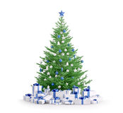 Christmas tree with gifts  3d render. Christmas tree with blue silver baubles, gifts  over white 3d render Royalty Free Stock Image