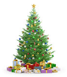 Christmas tree with gifts  3d render. Christmas tree with colorful gifts  over white 3d render Stock Images