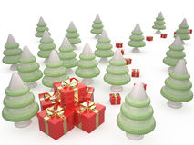 Christmas Tree and Gifts, 3D Stock Image