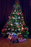 Christmas tree with gifts Stock Photo