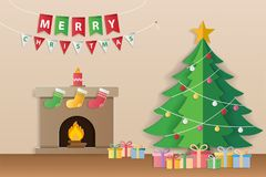 Christmas tree, gifts and decorated fireplace for season`s greet. Ings and new year invitations. Paper art style. Vector illustration Royalty Free Stock Photo
