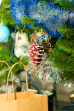 A christmas tree with gifts and decorations Royalty Free Stock Images