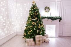 Christmas tree with gifts. And fireplace Stock Photography