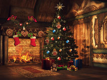 Christmas tree, gifts and a fireplace. Fairytale cottage with a Christmas tree, colorful gifts and a fireplace Stock Photo